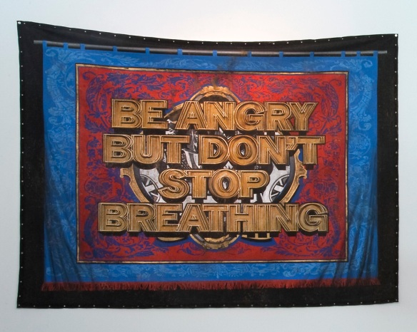 'BE ANGRY BUT DON'T STOP BREATHING' (detail), Acylic on canvas, 2011